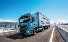 Scarica sfondi IVECO Stralis NP, 4k, 2017 camion, strada, blu Stralis NP, autobahn, camion, IVECO nuovo Stralis
