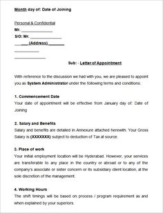 Employee Job Joining Appointment Letter Confirmation For Malaysia