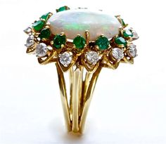 Opal Emerald and Diamond Ring | From a unique collection of vintage fashion rings at http://www.1stdibs.com/jewelry/rings/fashion-rings/
