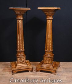 Pair Regency Pedestal Stand Columns Marquetry Inlay Pedestal Stand, Column Design, Marquetry, Marble Top, Columns, Regency, Antiques, Home Decor, Antiquities