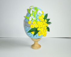 Quilled Easter egg with spring flowers 3D Quilling egg with
