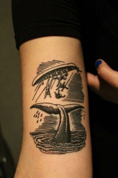 whale tail and capsized boat woodcut illustration style black tattoo