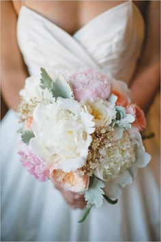 Bride--needs some champagne but overall shows the whites with some stronger blushes (both pink and peach) accented with the grey green foliage