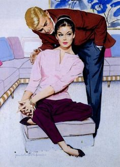 Jon Whitcomb. Gorgeous Mid Mod interior! And her charm bracelet...love! 1958