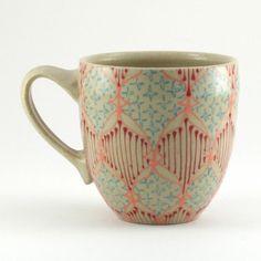 Ceramic Teacup  Mug with Hot Pink Turquoise by dawndishawceramics, $36.00