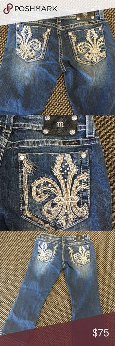 Miss Me size 31 Capri Jeans.  New with tags. Miss Me Capri Jeans size 31.  New with tags.  Beautiful Fleur de Lis design. Miss Me Jeans Ankle & Cropped