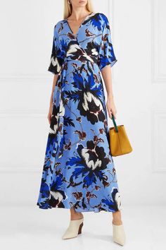 75183ba1 Diane von Furstenberg Eloise Floral-print Silk-crepe Wrap Maxi Dress - Blue  #