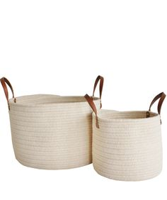 - Braided Wool Baskets, in Ivory - completely handmade in the USA-- custom designed exclusively for High Street Market - made of New Zealand wool-- no synthetic fibers here! Basket Tray, Basket Storage, Basket Ideas, Laundry Basket, Laundry Room, Leather Handle, Home Accessories, Wicker, Home Goods