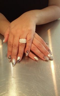 Silver black party nails