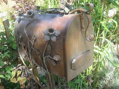 mailbox on post Antique Mailbox, Vintage Mailbox, Metal Mailbox, Unique Mailboxes, Rustic Mailboxes, Witch Cottage, You've Got Mail, Post Box, Iron Work