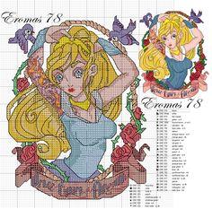 Picture only - Tim Shumate Disney Princess design - cross stitch pattern - Sleeping Beauty