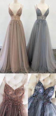 V-neck A-line Beading Long Prom Dresses Formal Dresses KP039 – kelendress