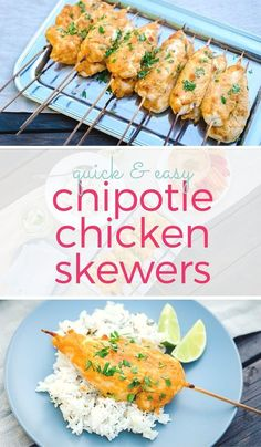 Baked chipotle chicken skewers with tons of flavor and a spicy kick. A quick & easy recipe makes a healthy appetizer or fun family dinner. ~ http://www.halfhersize.com