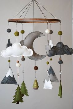 Woodland Nursery / Felt Mobile / Mountain Nursery / Felt Moon / Gray White Green / Nursery Decor / Cross / Monochrome / Scandinavian Decor - My best diy and crafts list