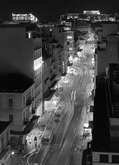 1960's ~ Patission avenue, Athens Καλό βράδυ Αθήνα! [Φωτ. Κώστας Μπαλάφας, ΑΘήνα 1960, Φωτογραφικό Αρχείο Μουσείου Μπενάκη] Good night Athens! [Photo by Costas Balafas, Athens 1960, Benaki Museum Photographic Archives]