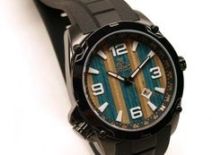 Blue and Maple Recycled Skateboard Watch #skatewatch