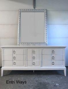 Dixie Dresser, Long White 9 Drawer MCM Dresser by Entri Ways.  High gloss white.  long dresser.