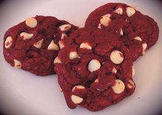 Red Velvet Chip Cookies ... so easy (shhh.... from a mix!) Recipe here: http://www.cookie-elf.com/red-velvet-chip-cookies.html