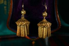 1830-40s French Cannetille & Filigree Earrings, 18K Gold. Erie Basin, my favorite jewelry store.