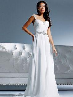 Low Neckline Capped Sleeves Beading Beach Wedding Dress