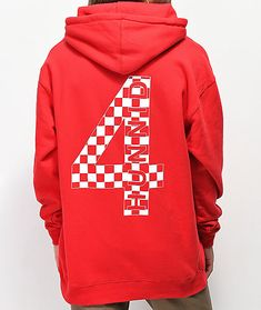 Layer up and show your brand allegiance to with their Red Checkered Hoodie. This fleece lined pullover is tagless for extra comfort and includes a small text logo on the left chest as well as a large back graphic both in contrasting white. Red Hoodie, Print Logo, Daily Wear, Cowl Neck, Screen Printing, 4 Hunnid, Pullover, Hoodies, Anaheim California