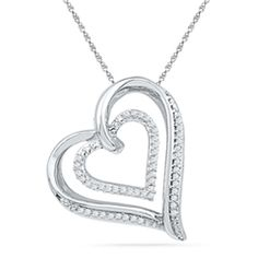 Diamond Accent Tilted Double Heart Pendant in Sterling Silver