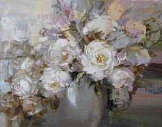 Oksana Kravchenko(b.1971) —  Nacre,2011 (1181×930) Painting & Drawing, Watercolor Paintings, Flower Canvas, Paintings I Love, Small Art, Russian Art, Art Oil, Watercolor Flowers, Lovers Art