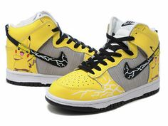 timeless design c8465 8571f Pikachu Nike Dunks Pokemon High Tops Sneakers For Adults