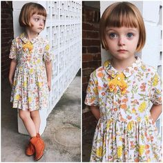 Had to take a quick detail snap of Olive's little fall ensemble yesterday for Ms ☺️🙌 We could not wait to don this hand-me-… Trendy Kids, Cute Kids, Little Girl Bob Haircut, Vestidos Retro, Little Girl Dresses, Kids Wear, Baby Dress, Kids Girls, Kids Outfits