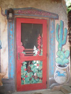 Painted Door at San Marcos Cafe, Hwy Santa Fe, New Mexico. Cool Doors, Unique Doors, When One Door Closes, Santa Fe Style, Knobs And Knockers, Land Of Enchantment, Southwest Style, Southwestern Doors, Painted Doors