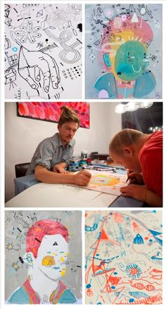 Tom & James Draw is a unique collaboration between two brothers: James and Tom Hancock. The collaborative project is special in that Tom was born with Down Syndrome, adding a distinctive creative voice to James' own, more artistic style.