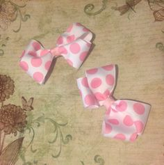 2 White And Pink Polka Dot Hair Bows by mlmissal on Etsy, $6.00