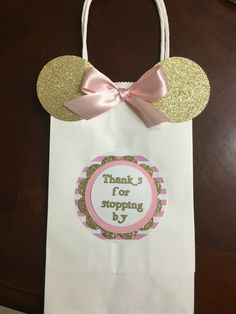 Pink and gold Minnie mouse favor bags by CreationsByChrissyCo