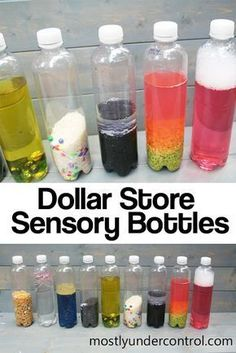 Sensory Bottles from the Dollar Store Sensory Bottles from the Dollar Store,DIY I took a long break from sensory activities because I felt like that's all I was writing about. But I couldn't stay. Infant Activities, Preschool Activities, 7 Month Old Baby Activities, Science Center Preschool, Calming Activities, Motor Activities, Calm Down Bottle, Baby Lernen, Toddler Crafts