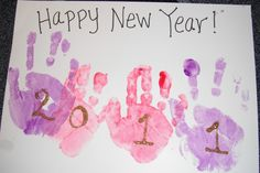 Happy New Year Kids - would be cute to use silver  or gold paint for handprints
