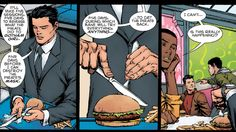 Bruce Wayne has had to do a lot of questionable things in his time as the Dark Knight—that conflict and struggle is what makes Batman such a compelling character. But I have never felt more betrayed by a comic book as I was today, to discover that Bruce Wayne eats hamburgers with a knife and fork.