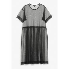 Monki Mesh dress (113135 PYG) ❤ liked on Polyvore featuring dresses, vestido, black magic, rouched dress, pleated dress, shirred dress, mesh dress and gathered dress
