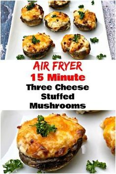 The 15-minute Air Fryer Three Cheese Stuffed Mushrooms is a low carb diet ...   - Keto foods - #15minute #Air #Carb #cheese #diet #Foods #Fryer #KETO #mushrooms #stuffed