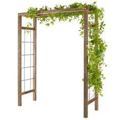 Strakke houten doorgang als klimhulp voor alle soorten klimplanten zoals clematis, klimrozen, druiven en kamperfoelie.