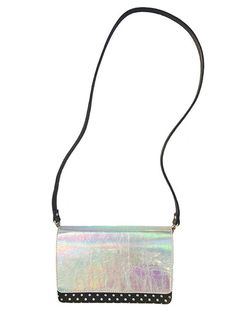 Arden Flap Bag in Mirror Metallic Silver with Black and Silver Stud