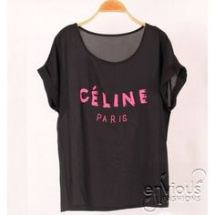 CELINE PARIS Shirt $38.00  Available in 3 colors; white, black, turquoise  We ship worldwide! Free shipping within Australia.  #celine #celineparis #tops #chiffon