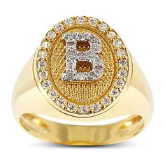 Chevalier ring with your monogram! gold14ct with white zircon! Just amazing!