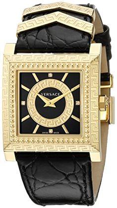 Versace Women's VQF020015 DV-25 Analog Display Swiss Quartz Black Watch -- For more information, visit image link.