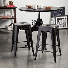 Tabouret 24-inch Charcoal Grey Metal Counter Stools (Set of 2)