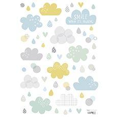Sticker chambre bébé nuages et pluie Dawn Machell for Lilipinso