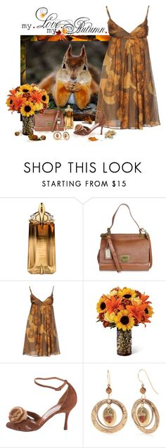 """""""An Autumn Cutie"""" by love-n-laughter ❤ liked on Polyvore featuring Thierry Mugler, Badgley Mischka, Attic and Barn, Manolo Blahnik and Silver Forest"""
