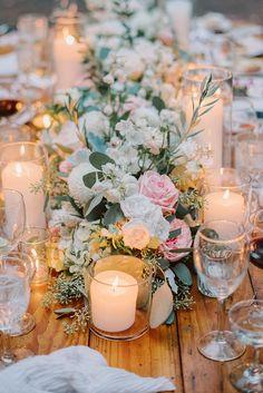 Garden Wedding Centerpieces, Floral Centerpieces, Table Centerpieces, Centerpiece Ideas, Table Decorations, Floral Wedding, Floral Design, Reception, Night Shot