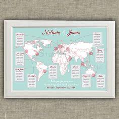 Tableau de mariage Mappa del Mondo e destinazioni di redlinecs