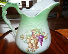 ANTIQUE and SHABBY SHEIK/////Vintage Semi Porcelain Pitcher by Goodwin Pottery Co
