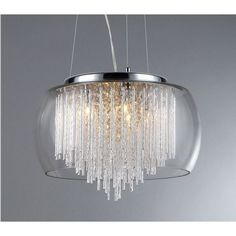 Bring an opulent touch to your living room or dining room with the addition of this beautiful five-light chandelier. This chrome lighting fixture features five cascading rows of gorgeous clear crystals giving it an enchanting appearance when lit.